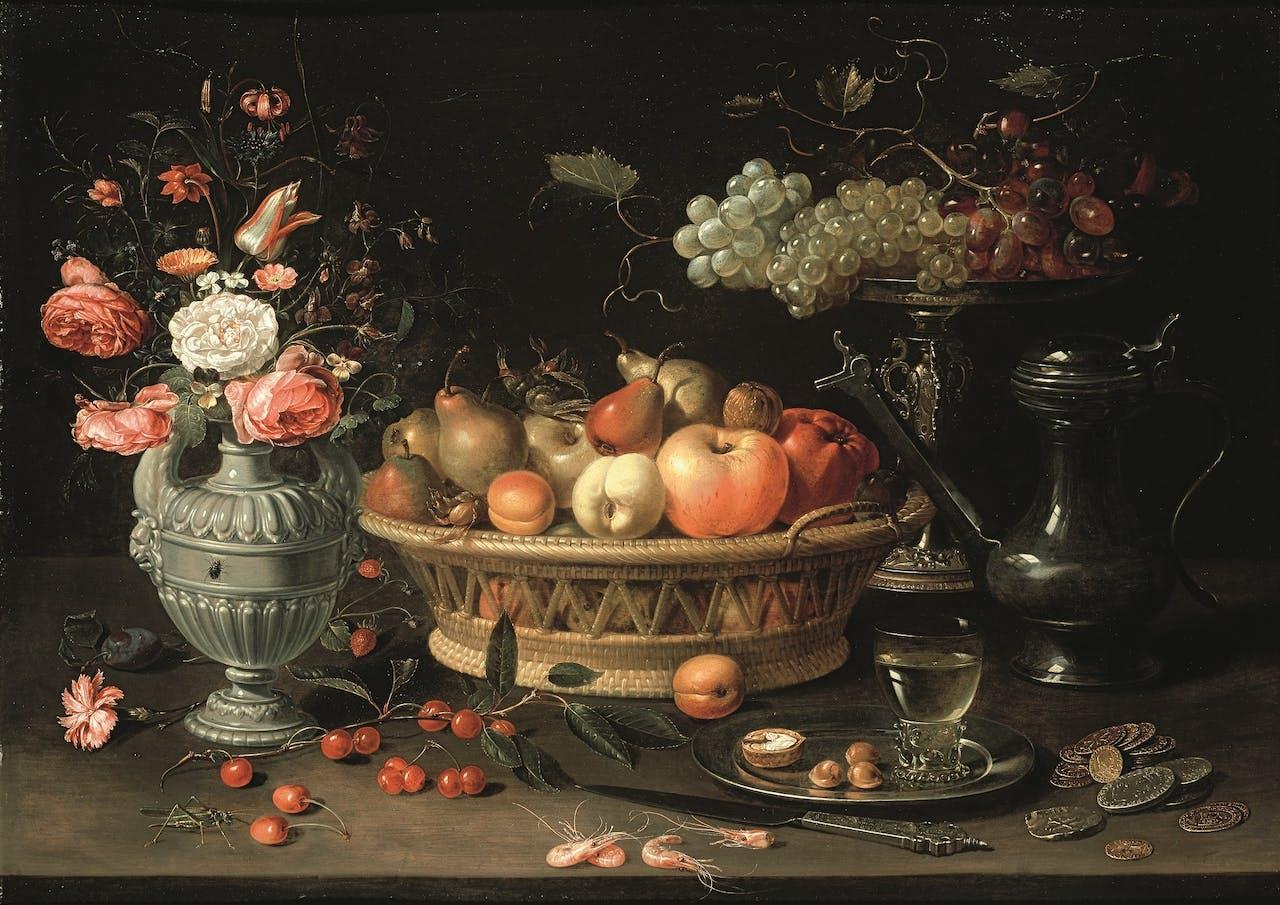 Clara Peeters, 'Stilleven met vruchten en bloemen', ca 1612.