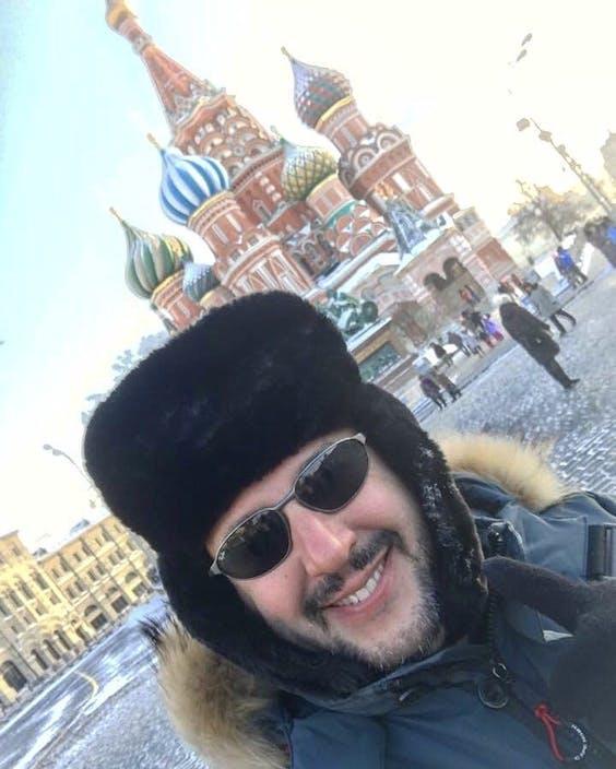 Matteo Salvini in Moskou in 2017