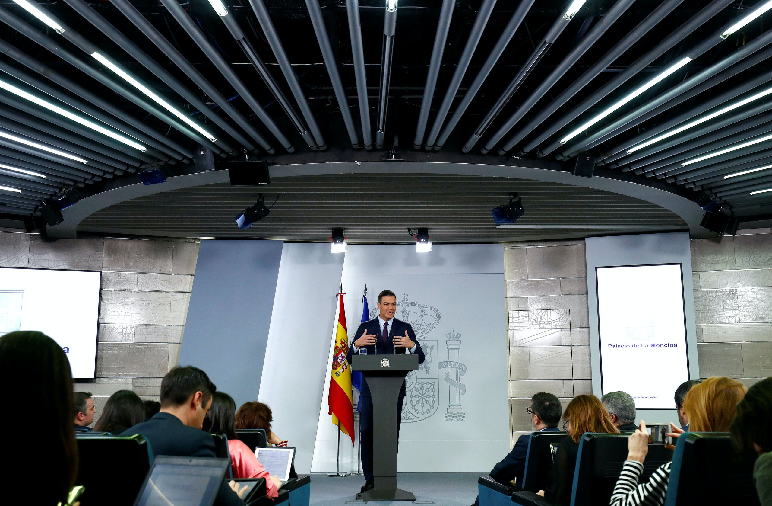 Spain's Prime Minister Pedro Sanchez holds a news conference after an extraordinary cabinet meeting in Madrid, Spain, February 15, 2019. REUTERS/Juan Medina