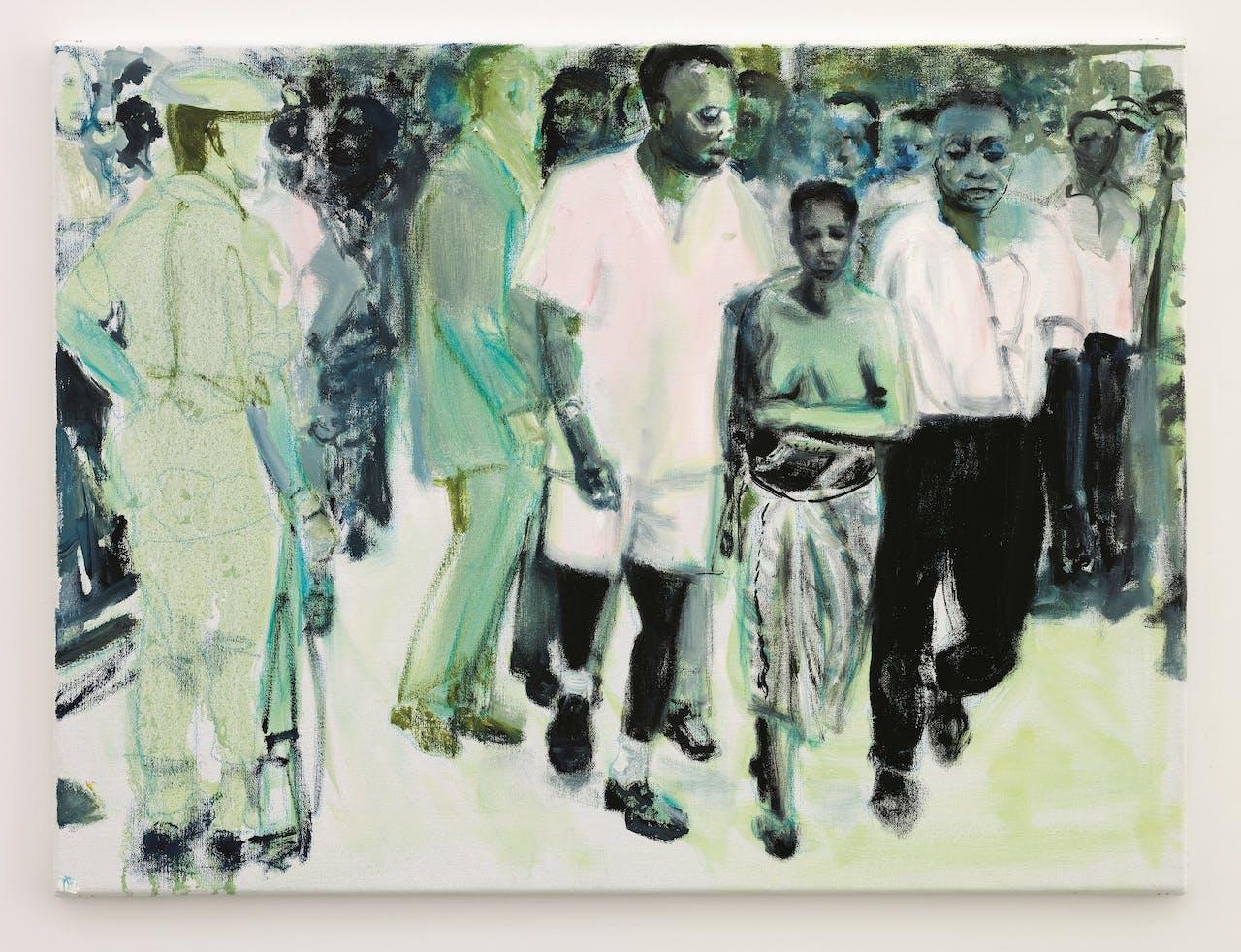 Marlene Dumas: 'The Widow', 2013, naar een foto, uit 1961, van de begrafenis van Patrice Lumumba.