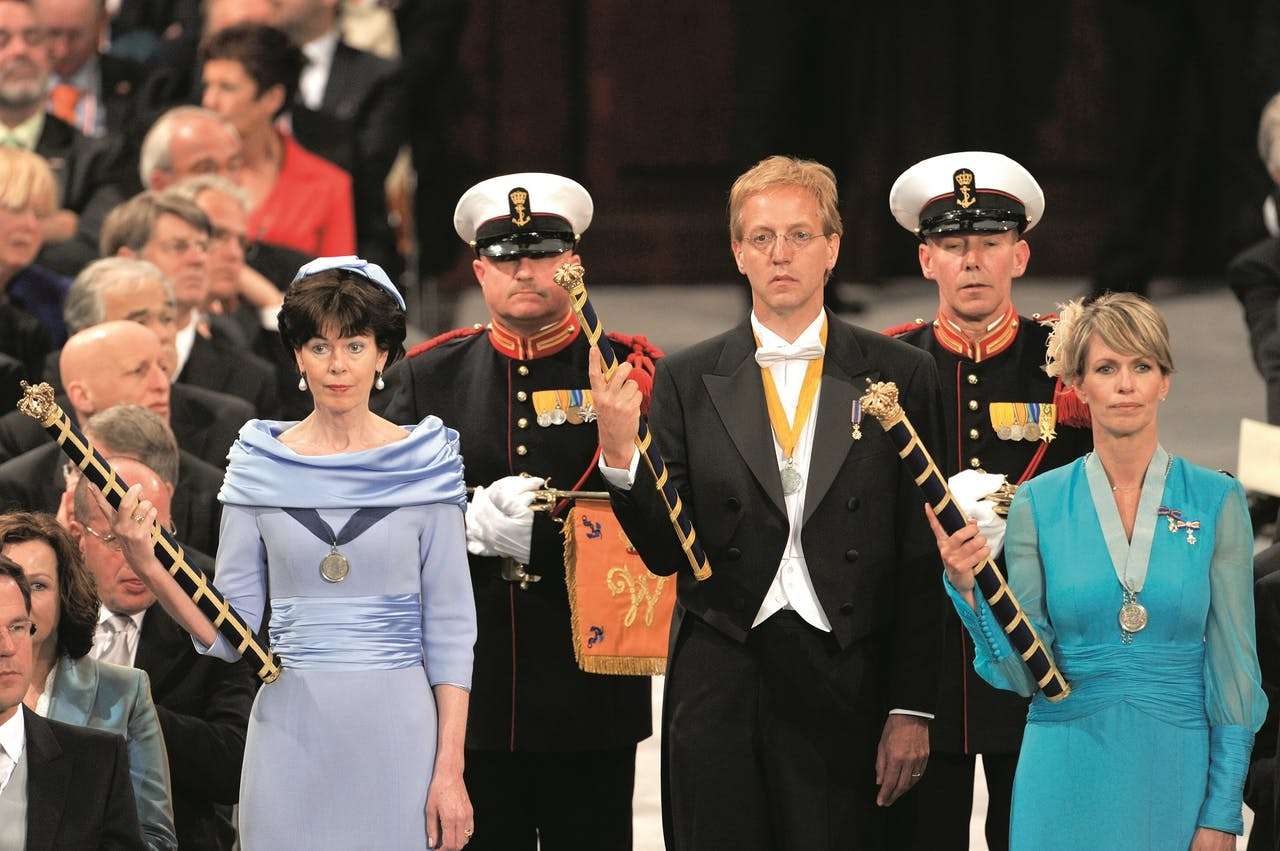 Jones-Bos, Robbert Dijkgraaf en Anky van Grunsven bij de inhuldiging van koning Willem-Alexander, in 2013;