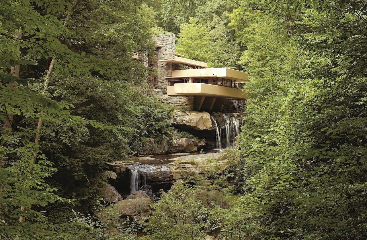 Fallingwater: een villa als deel van de natuur.