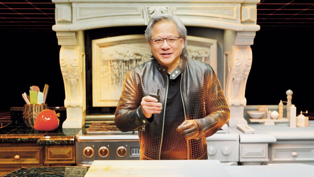 Ceo Jen-Hsun Huang van Nvidia gaf een presentatie in zijn keuken, tot zijn digitale kloon het overnam.