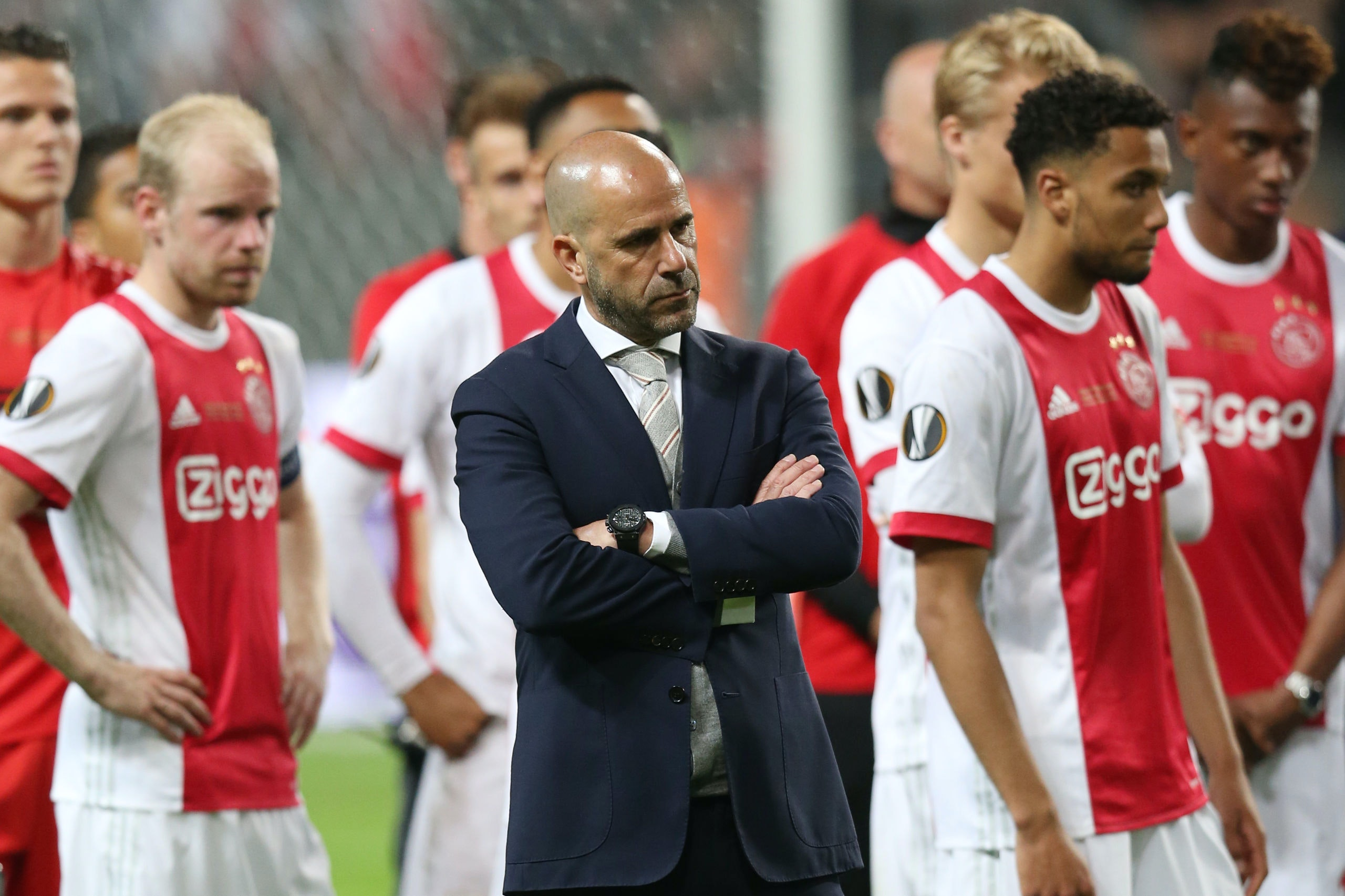 Davy Klaassen of Ajax, coach Peter Bosz of Ajax, Jairo Riedewald  of Ajax,during the UEFA Europa League final match between Ajax Amsterdam and Manchester United at the Friends Arena on May 24, 2017 in Stockholm, Sweden