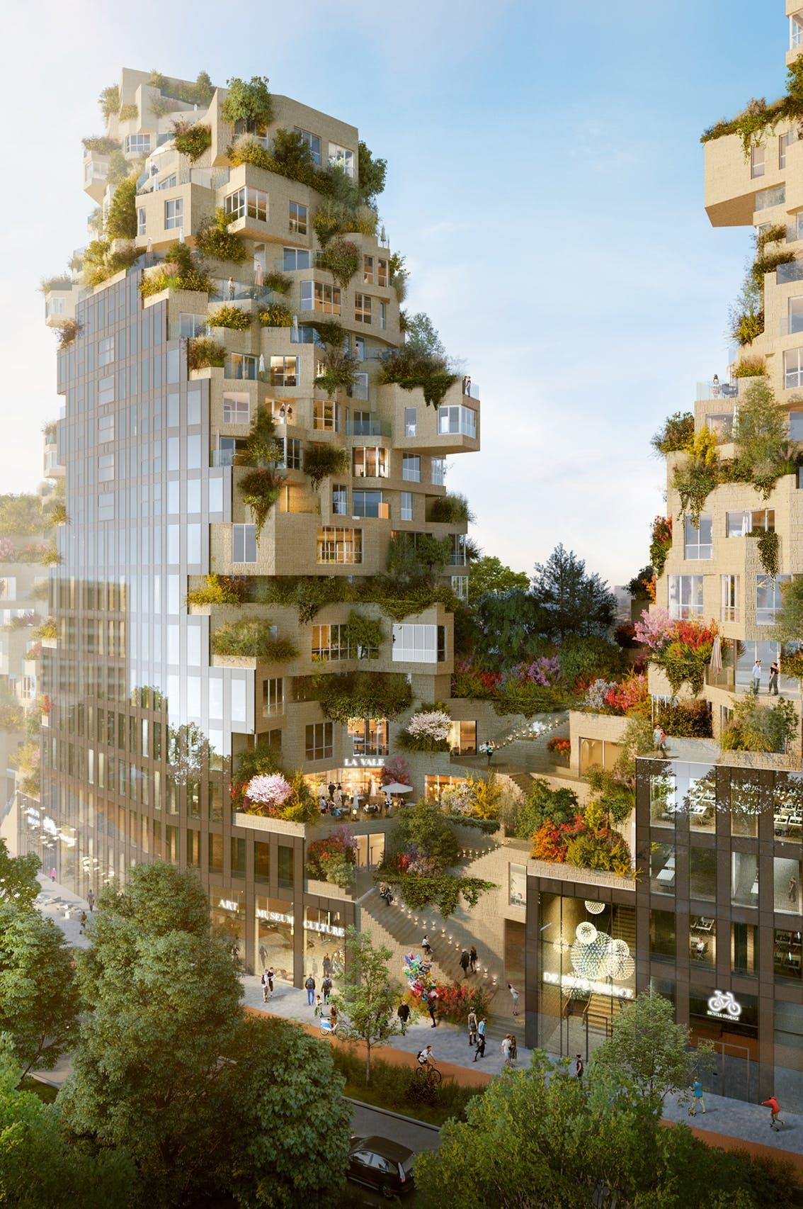 Artist Impression Valley aan de Amsterdamse Zuidas. Het complex moet in 2021 klaar zijn.
