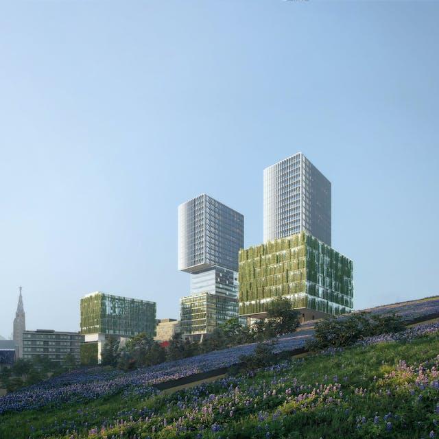 Centrum Eindhoven krijgt Brabants stadsbos met hoogbouw van OMA