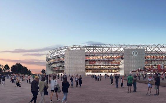 Artist's impressions van het nieuwe Feyenoord-stadion, aan de NIeuwe Maas in Rotterdam. Het ontwerp van het gebouw verwijst naar de oude Kuip.
