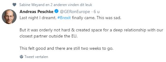 Tweet van Andreas Peschke, directeur-generaal Europa bij het Duitse ministerie van buitenlandse zaken