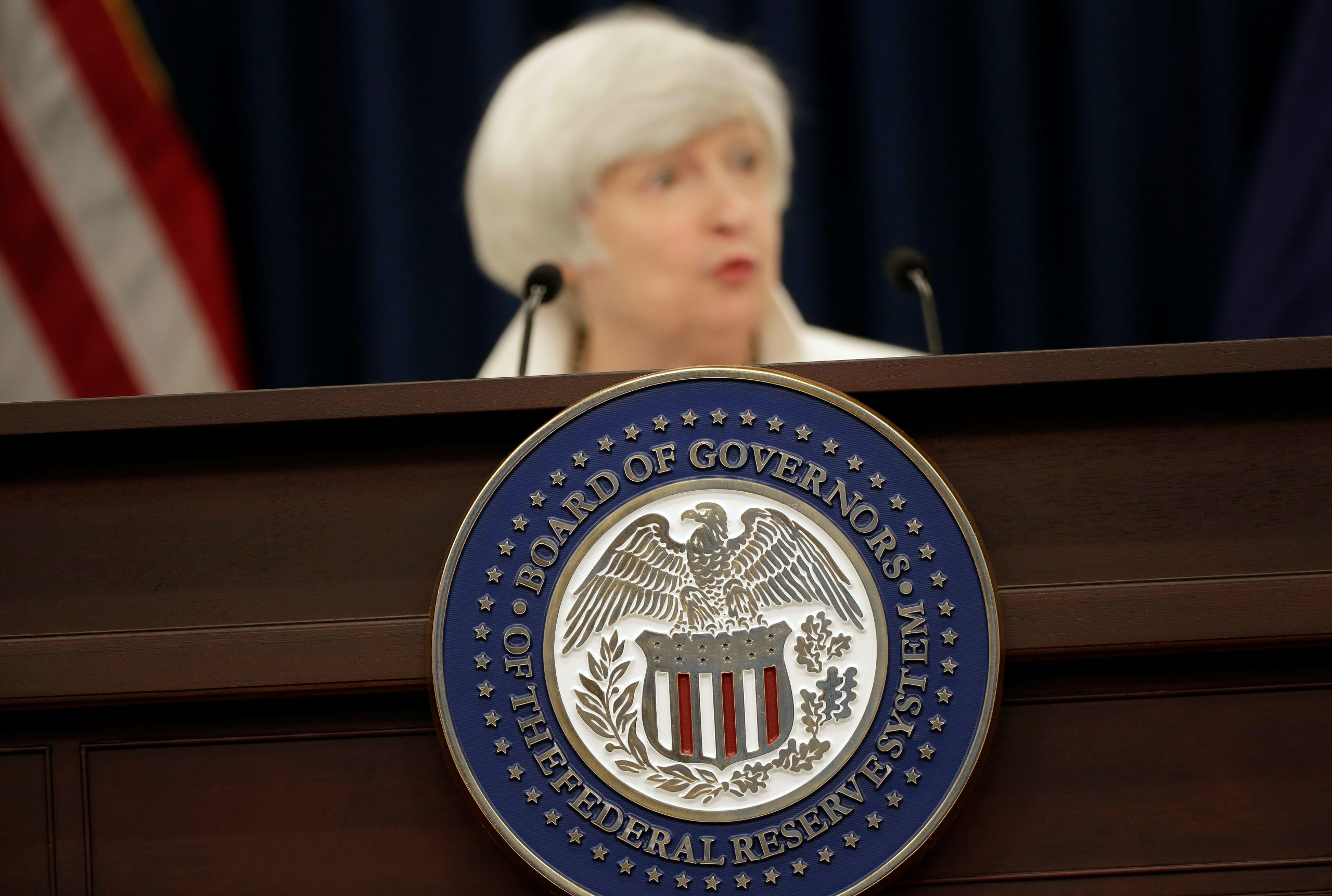 Federal Reserve Chairman Janet Yellen speaks during a news conference after a two-day Federal Open Markets Committee (FOMC) policy meeting, in Washington, U.S., September 20, 2017. REUTERS/Joshua Roberts - RC17B6785EE0