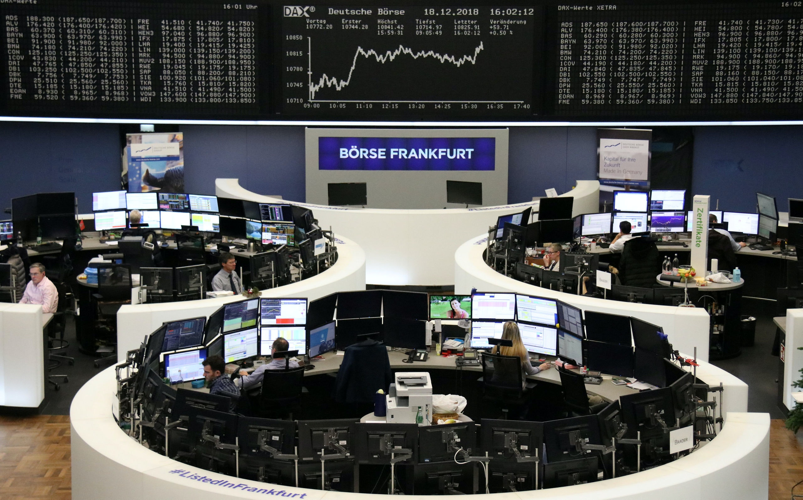 The German share price index DAX graph is pictured at the stock exchange in Frankfurt, Germany, December 18, 2018.    REUTERS/Staff