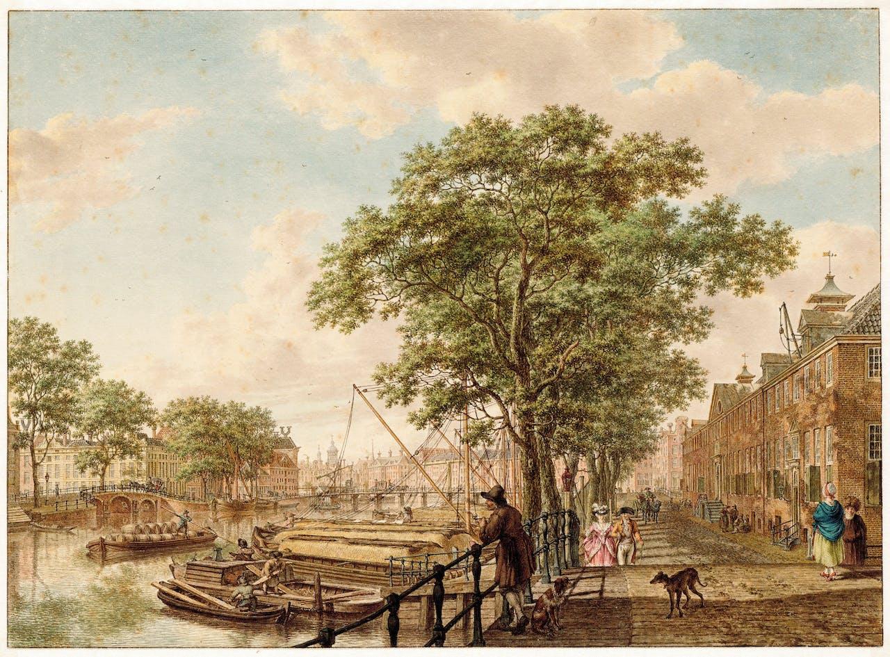 Jacob Cats: tekening uit 1795 van de Amstel, met rechts het Diaconie Oude Vrouwen- en Mannenhuis. Daar zit nu museum Hermitage Amsterdam in.
