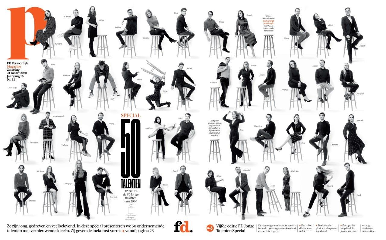 Cover van de jubileumeditie van de FD Jonge Talenten Special. In 2020 verscheen de uitgave voor het vijfde jaar op rij.