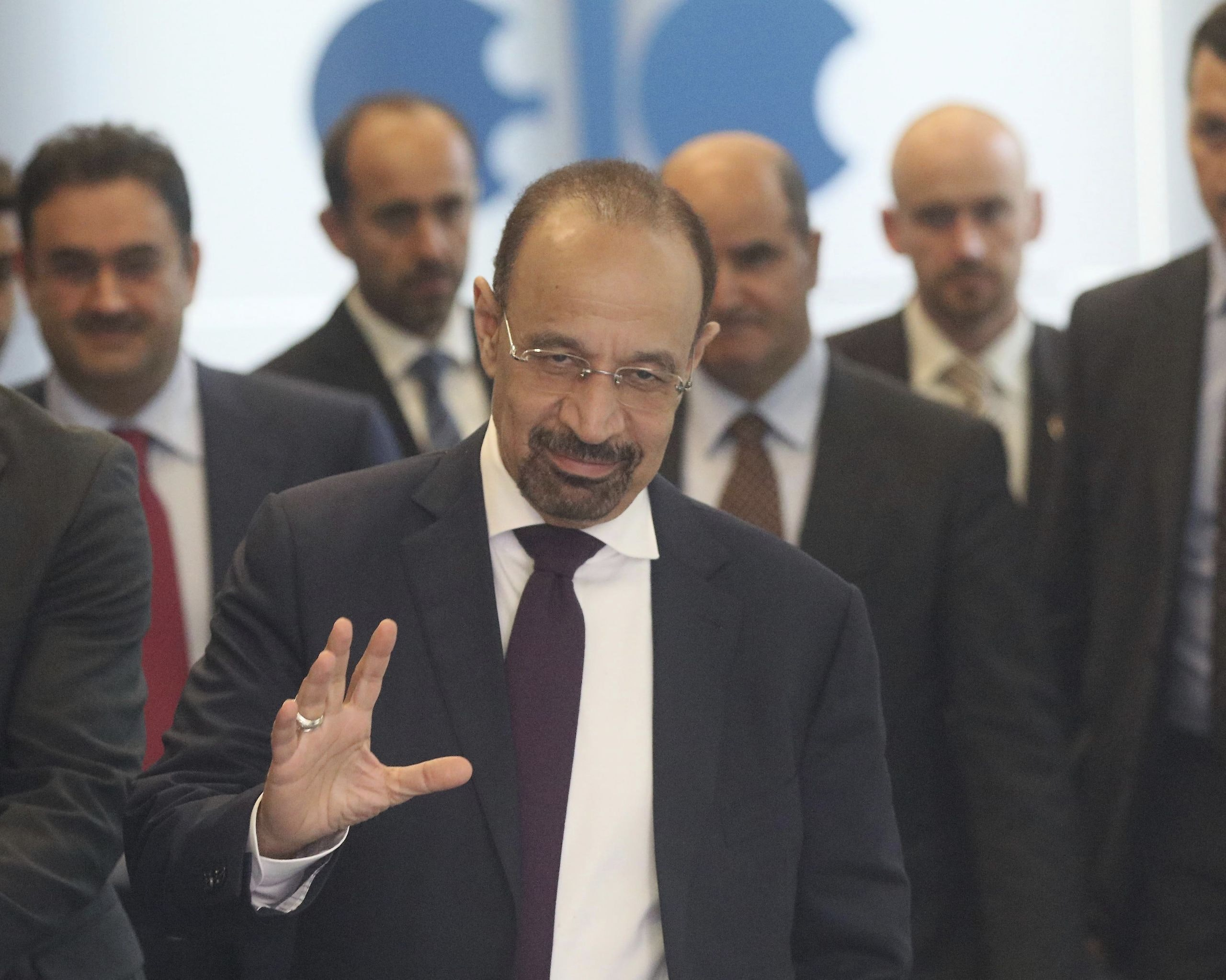 Khalid Al-Falih Minister of Energy, Industry and Mineral Resources of Saudi Arabia leaves the building of the Organization of the Petroleum Exporting Countries, OPEC, at their headquarters in Vienna, Austria, Wednesday, May 24, 2017. (AP Photo/Ronald Zak)
