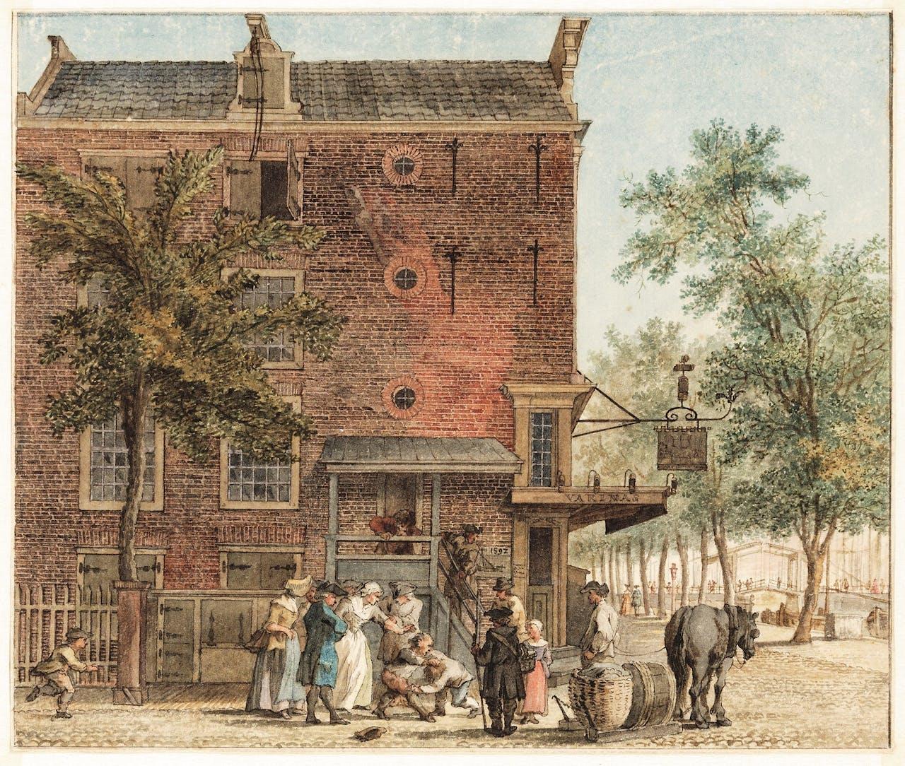 Reinier Vinkeles, 1765: de tabakswinkel op de hoek Binnenkant en Kalkmarkt. Vinkeles is de enige tekenaar uit de 18de eeuw die wél een straat naar zich vernoemd kreeg, de Reinier Vinkeleskade.