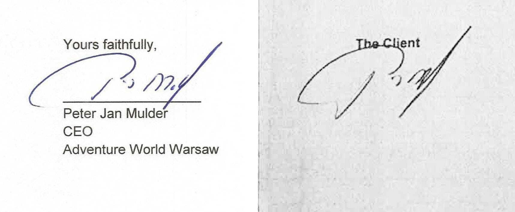 Links de handtekening van Mulder en rechts de naar verluidt vervalste handtekening.