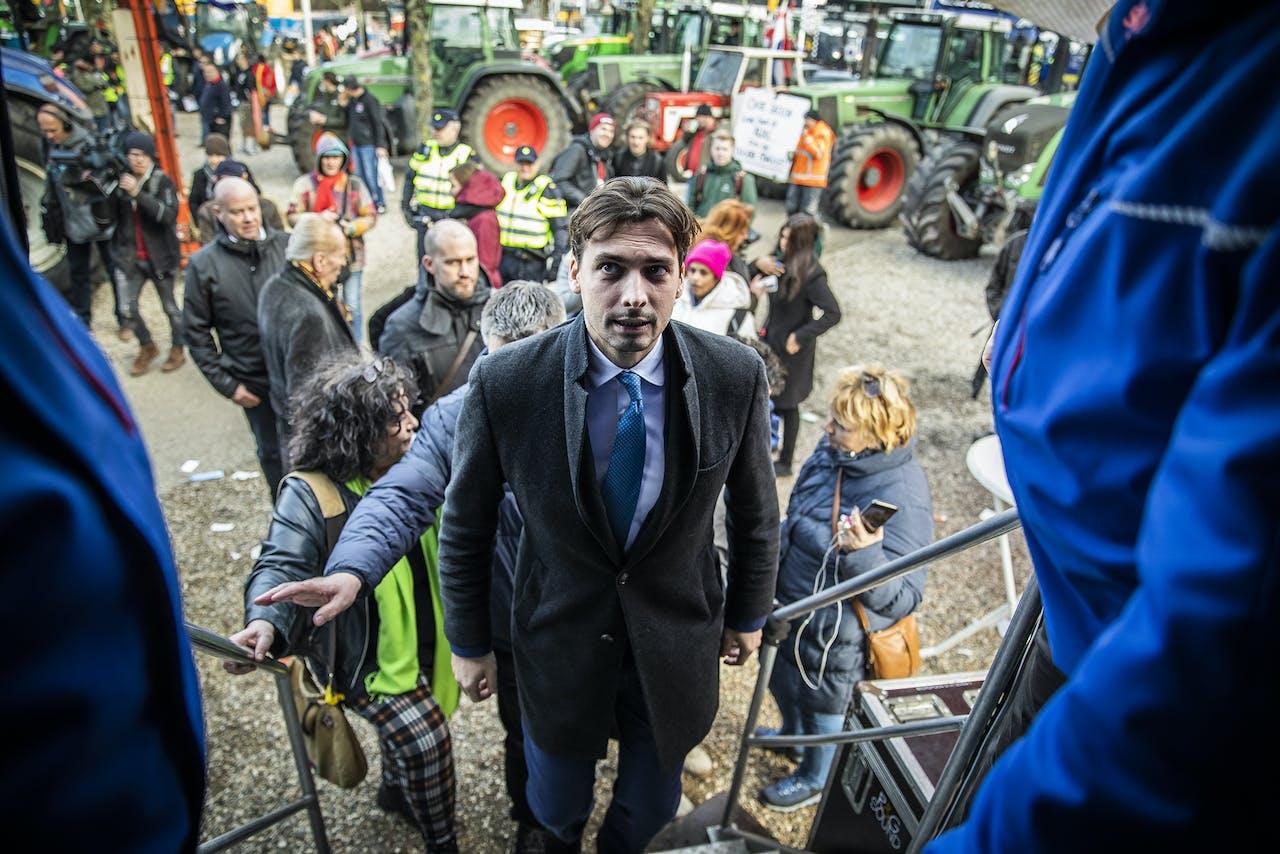 Forum-leider Thierry Baudet spreekt tijdens boerenprotest afgelopen herfst in Den Haag. Een spraakmakend deel van de boeren voelt verwantschap met zijn gedachtegoed.