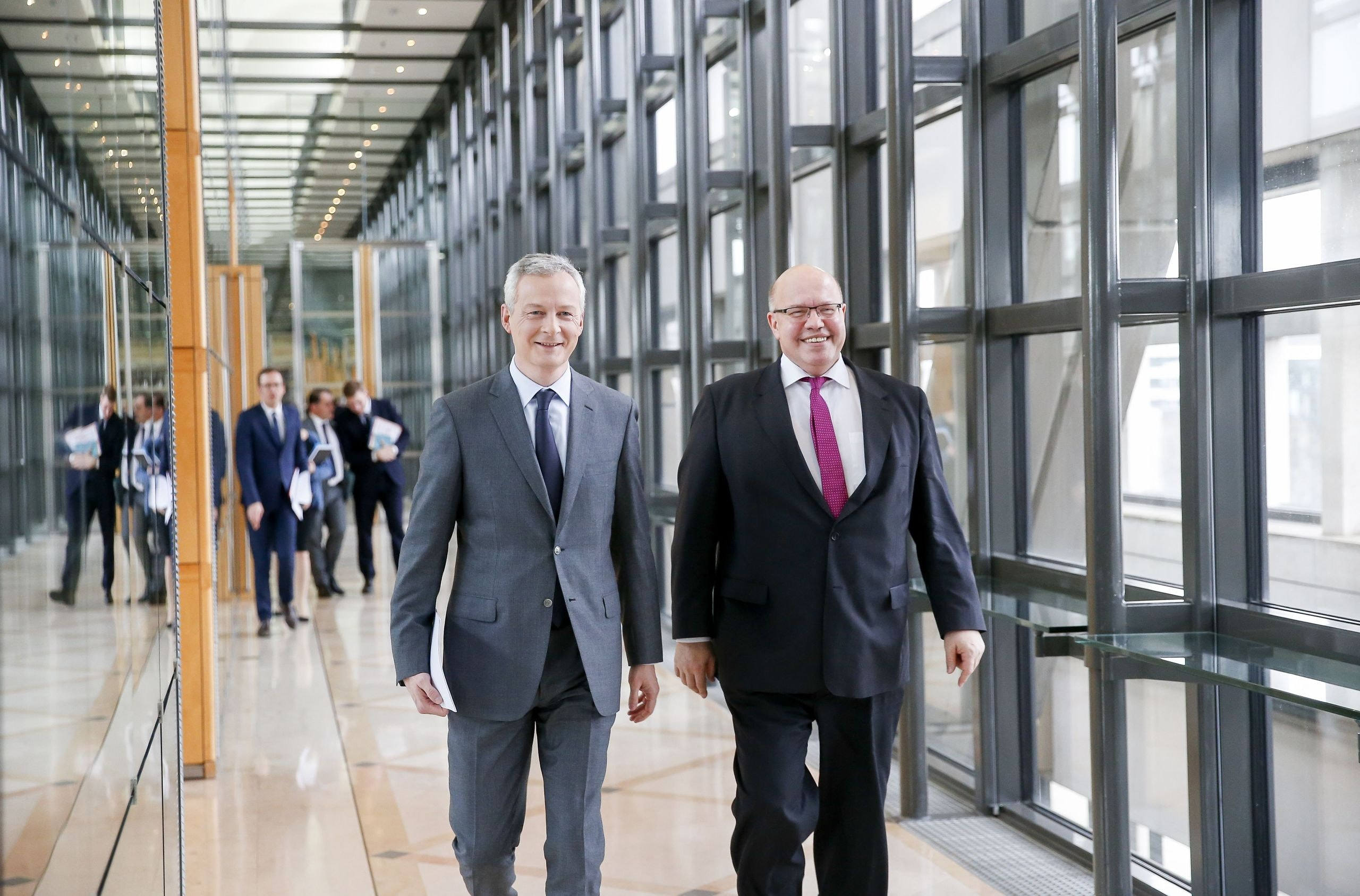 Mandatory Credit: Photo by Muylaert Sebastien/action press/REX/Shutterstock (9325993c) Bruno Le Maire, Peter Altmaier Bruno Le Maire and Germany's interim Finance Minister Peter Altmaier meet at the Economy Ministry, Paris, France - 18 Jan 2018