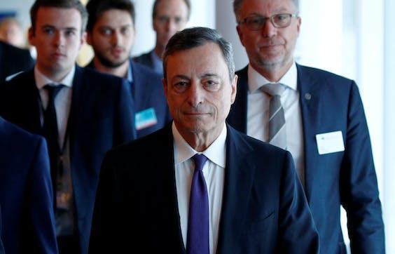 ECB-president Mario Draghi eerder deze maand op bezoek bij het Europees Parlement