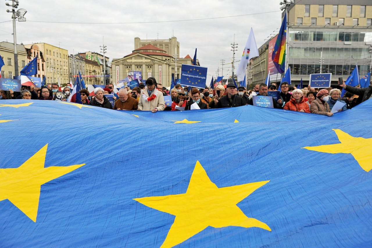 Een pro-Europees protest in Katowice.