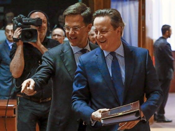 Premier Mark Rutte en David Cameron wonen een topconferentie van de Europese Unie bij over migratie, in Brussel, België
