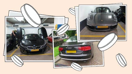 In beslag genomen auto's van Darryl N. door het Openbaar Ministerie.