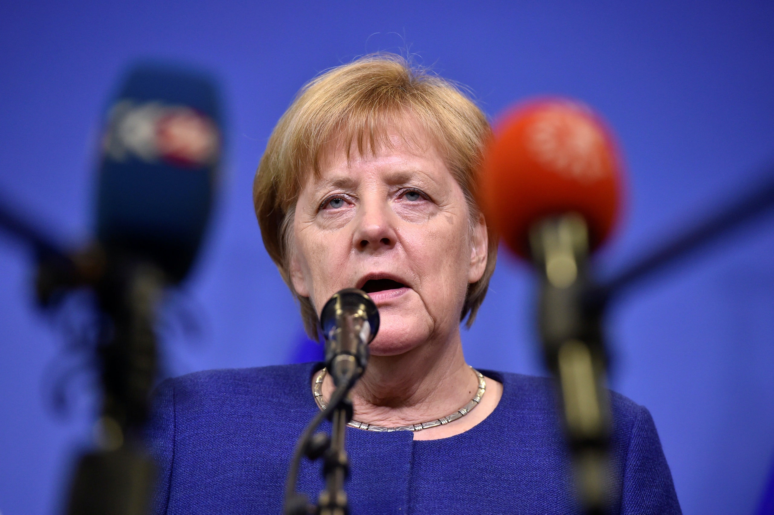 German Chancellor Angela Merkel talks to the press after an emergency European Union leaders summit on immigration at the EU Commission headquarters in Brussels, Belgium June 24, 2018. REUTERS/Eric Vidal