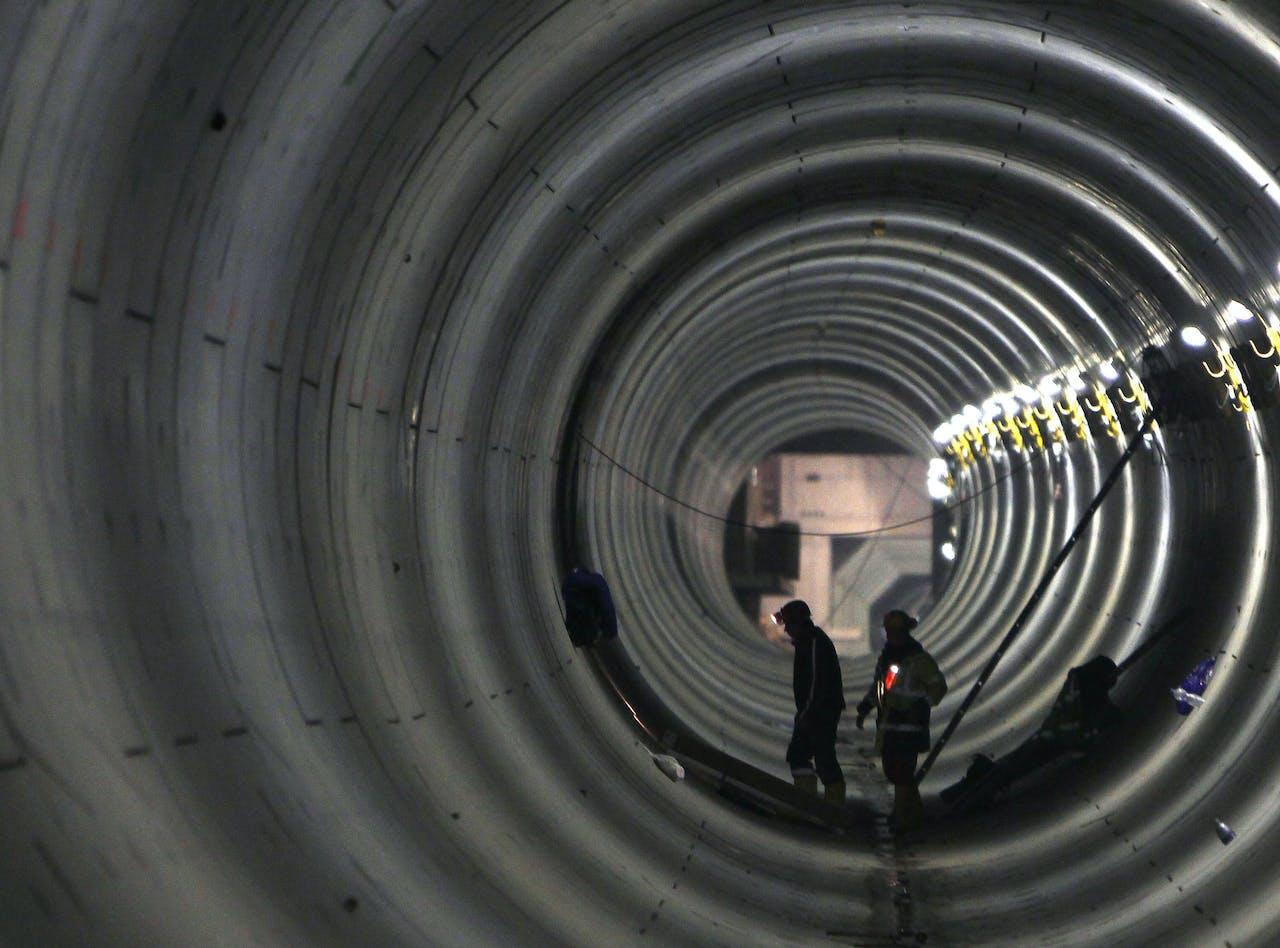 De aanleg van Metrolijn 4 in Boedapest, zo'n tien jaar geleden. Daar ging ook Europees geld naar toe; volgens de huidige regering was bij het project sprake van bedrog.