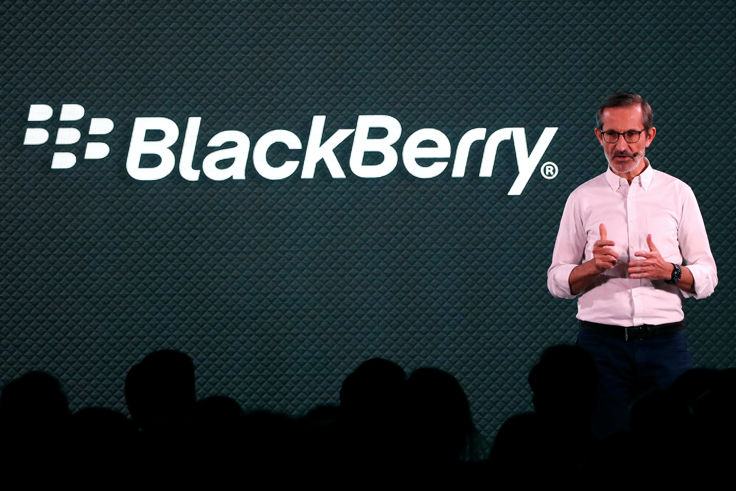 Alain LeJeune, President of Blackberry Mobile at TCL Communication speaks at the introduction the new Blackberry Key2 smartphone during a product launch event for the device in Manhattan in New York, U.S., June 7, 2018. REUTERS/Mike Segar