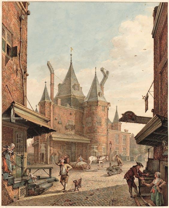 Tekening uit 1781 van H.P. Schouten van de Waag op de Nieuwmarkt; rechts verkoopt een dienstmeid een fles wijn. Op beide hoeken van de Bloedstraat zitten ook nu nog cafés.