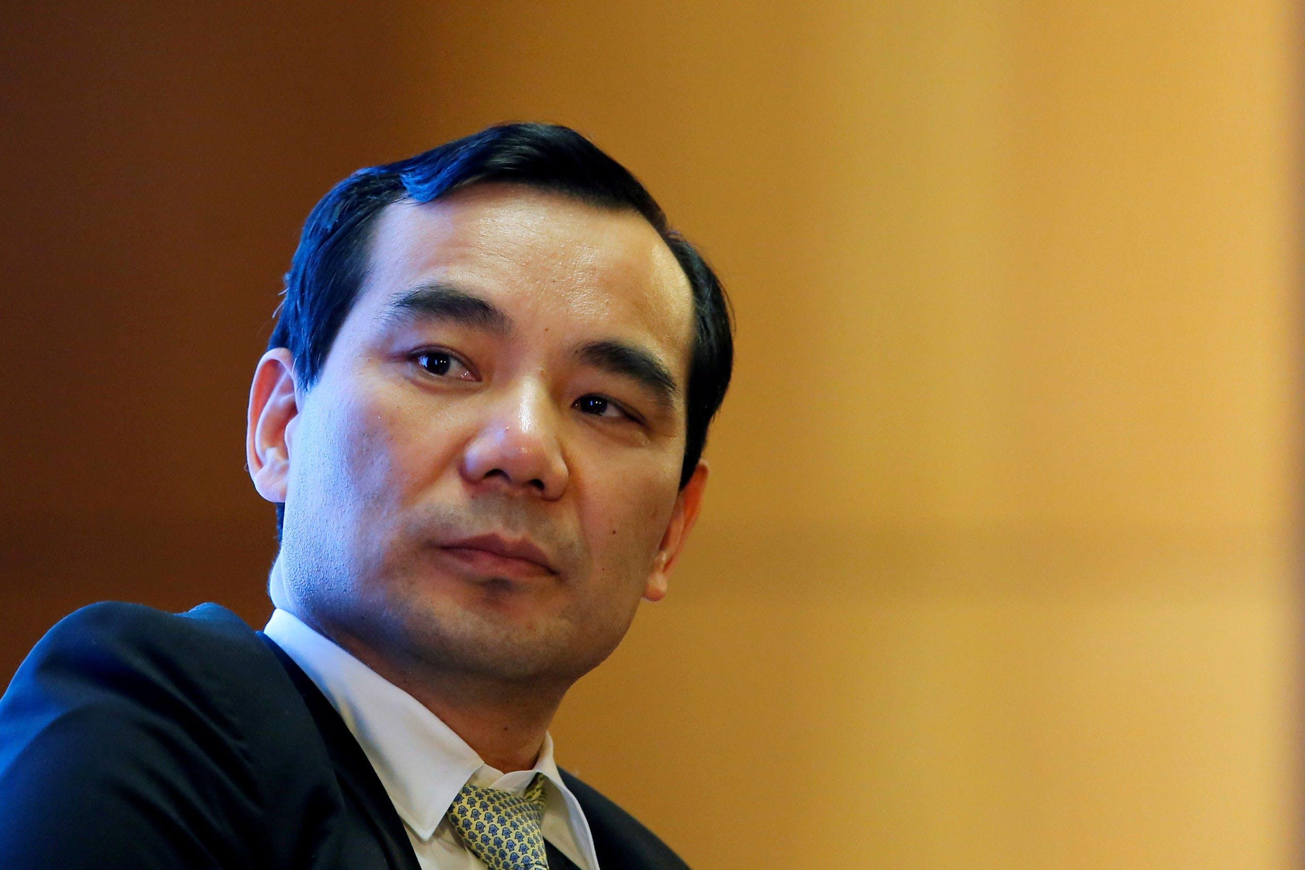 De gevallen topman Wu Xiaohui van Anbang, tijdens een van zijn laatste publieke optredens in het voorjaar van 2017.