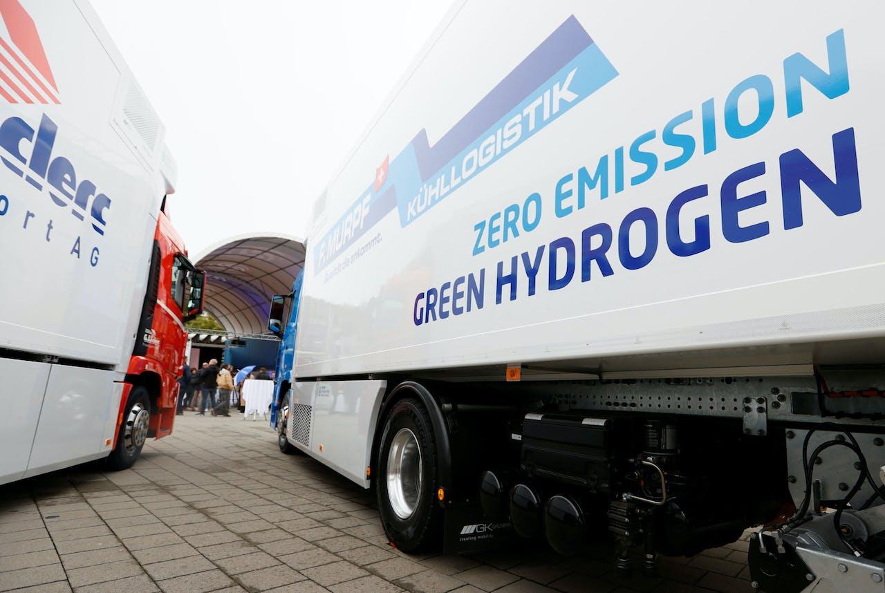 Een op waterstof lopende vrachtwagen van Hyundai, bij een presentatie in Luzern.