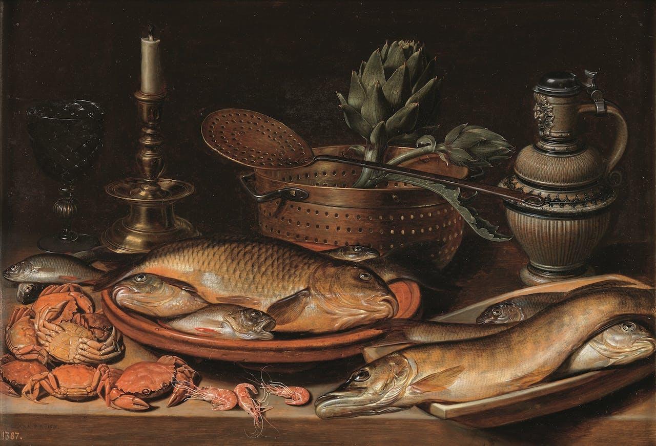 Clara Peeters, 'Visstilleven met kandelaar', 1612.