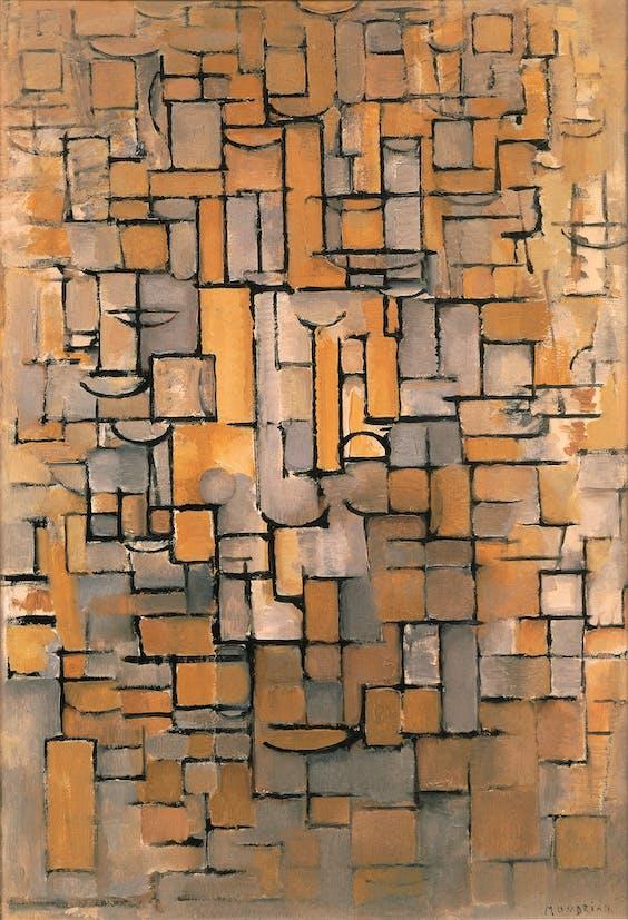 'Schilderij No. II / Compositie No. XV / Compositie 4', Piet Mondriaan, 1913.