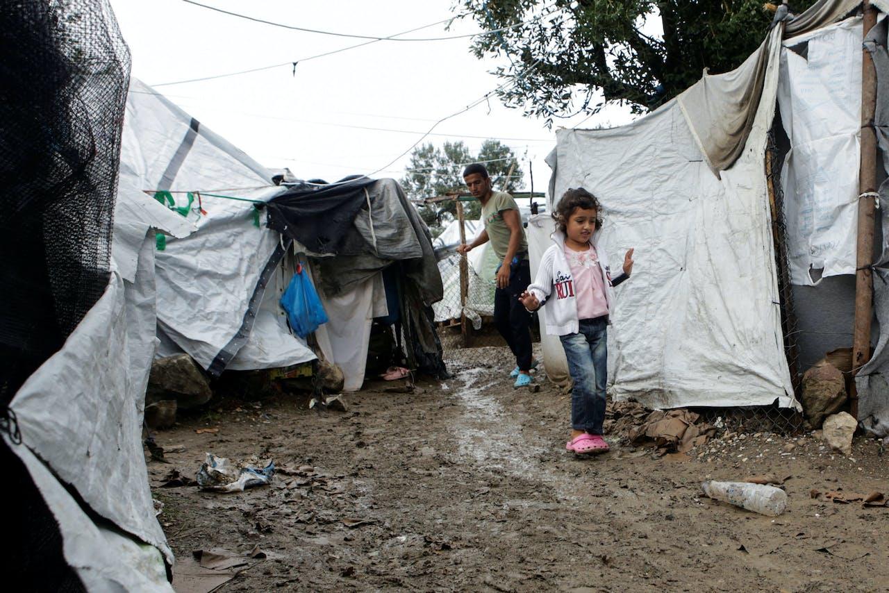 Moria, het beruchte opvangkamp voor vluchtelingen en migranten op het Griekse eiland Lesbos.