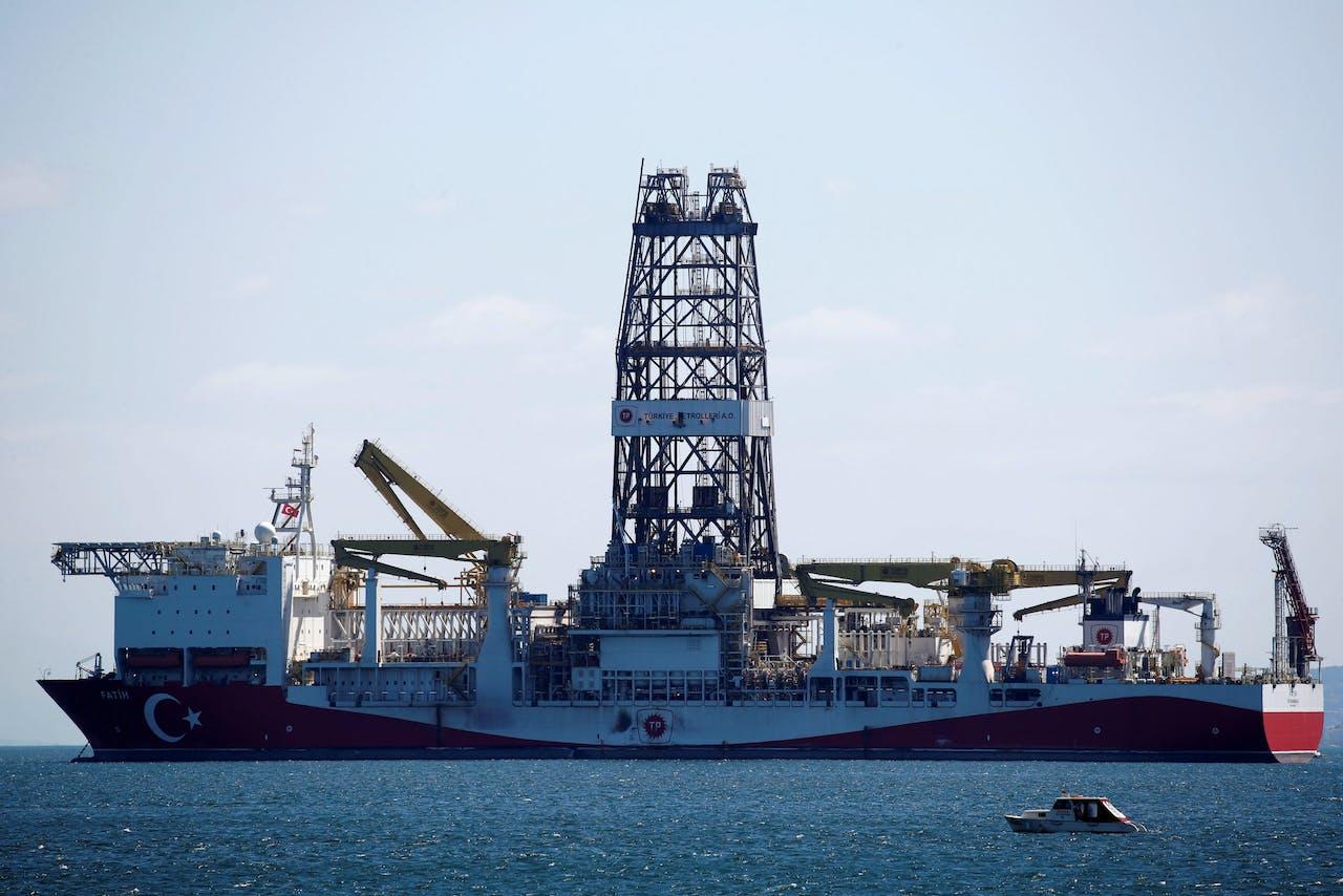 Het Turkse schip Fatih, dat naar olie en gas gaat zoeken bij Cyprus.