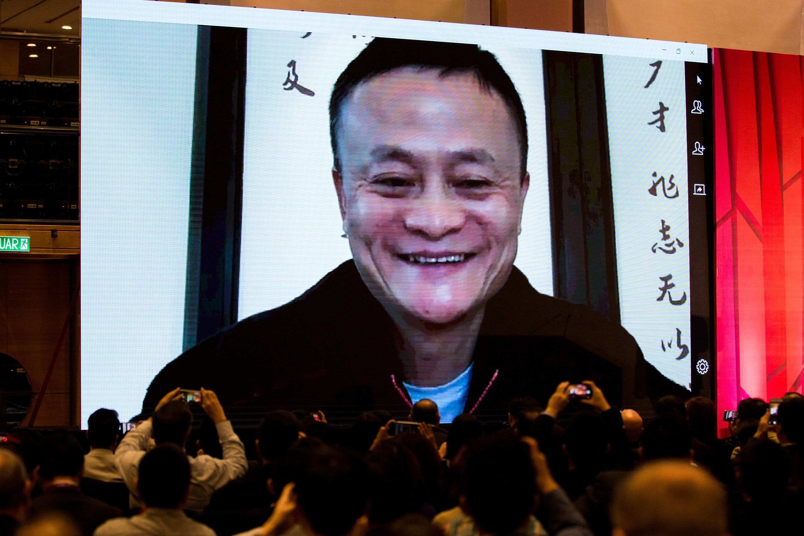 (181010) -- KUALA LUMPUR, Oct. 10, 2018 -- Jack Ma, founder of China s e-commerce giant Alibaba, speaks to audience via video call during the China Conference organized by South China Morning Post in the Malaysia s capital Kuala Lumpur, Oct. 10, 2018. The conference brought together business, academic and political leaders to discuss cooperation between China and Southeast Asia on politics, economy, technology and how to tap opportunities of the Belt and Road Initiative, among others.) (hy) MALAYSIA-KUALA LUMPUR-CHINA CONFERENCE ZhuxWei PUBLICATIONxNOTxINxCHN