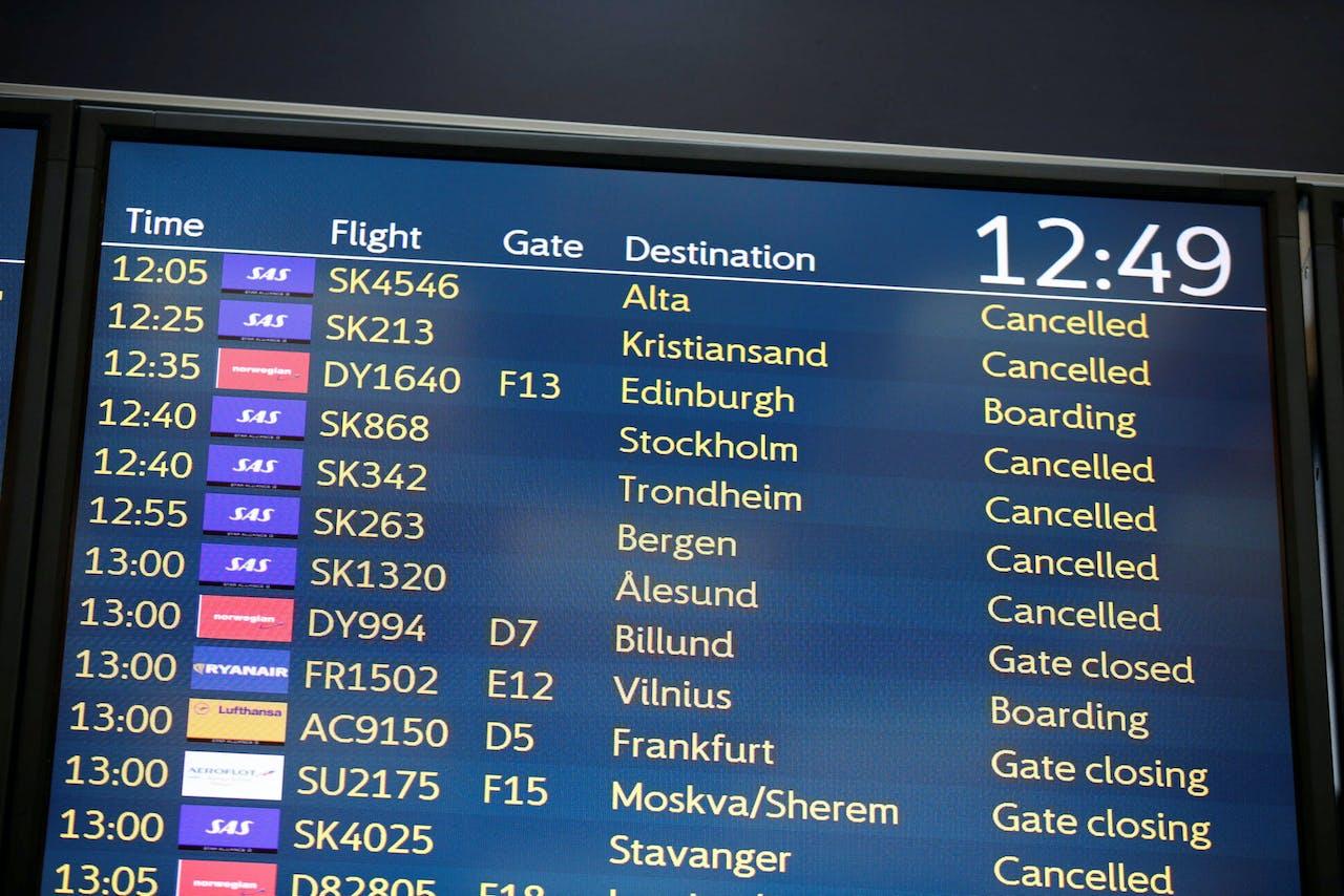 De gevolgen van een staking bij luchtvaartmaatschappij SAS op het vliegveld van Oslo in april 2019.