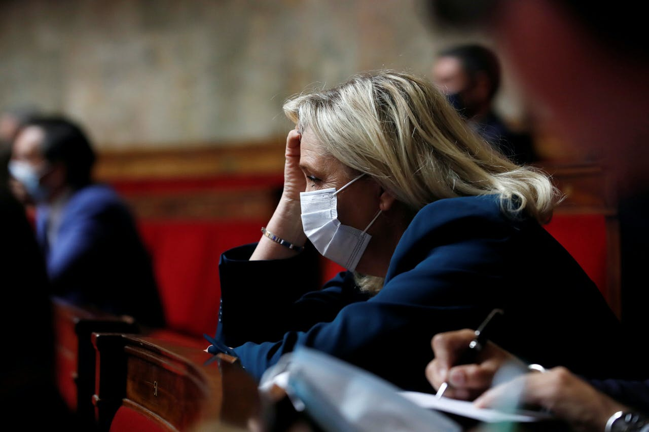 Marine Le Pen in het Franse parlement.