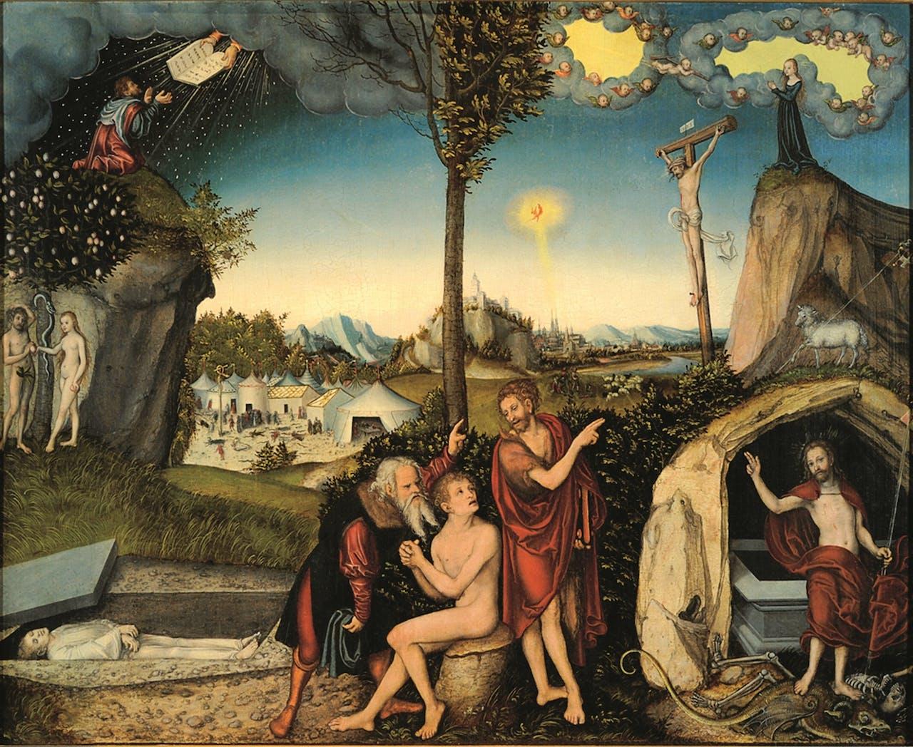 'Gesetz und Gnade', uit 1529, verbeeldt de leer van Luther dat de mens na de zondeval uitsluitend door Jezus kan worden gered; links zien we scènes uit het Oude Testament, rechts uit het Nieuwe.