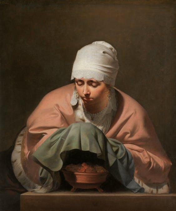'Jonge vrouw warmt haar handen boven een vuurtest, allergorie op de winter', ca. 1655