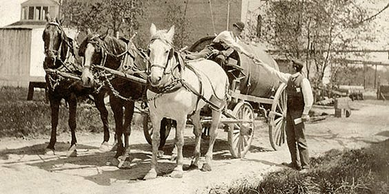 Paardenkar in Baltimore eind 19de eeuw.