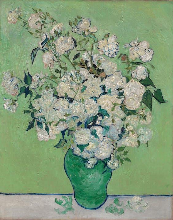 Vincent van Goghs 'Rozen', 1890, is veel groener dan ooit bedoeld. Het hangt in het Metropolitan Museum in New York.