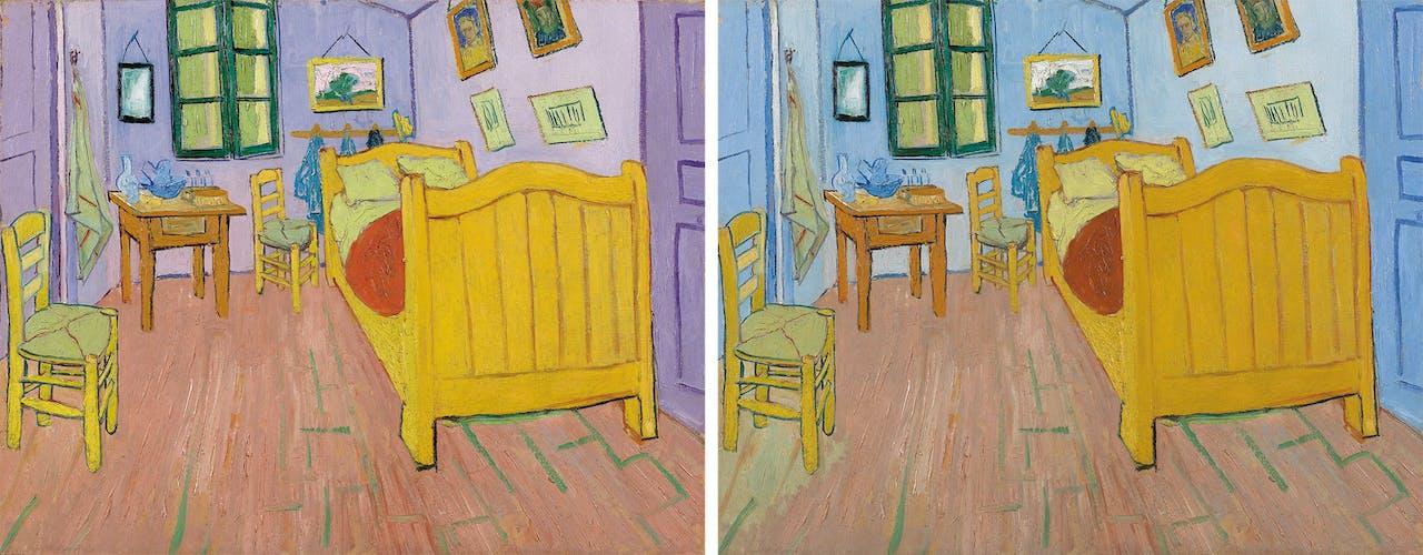 'De slaapkamer' van Van Gogh, uit 1888, kennen we als blauw; links: hoe Van Gogh de kamer heeft geschilderd.