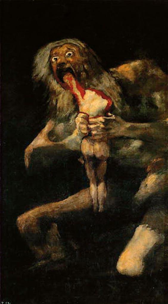 Francisco Goya, 'Saturnus die zijn zoon verslindt', 1823.