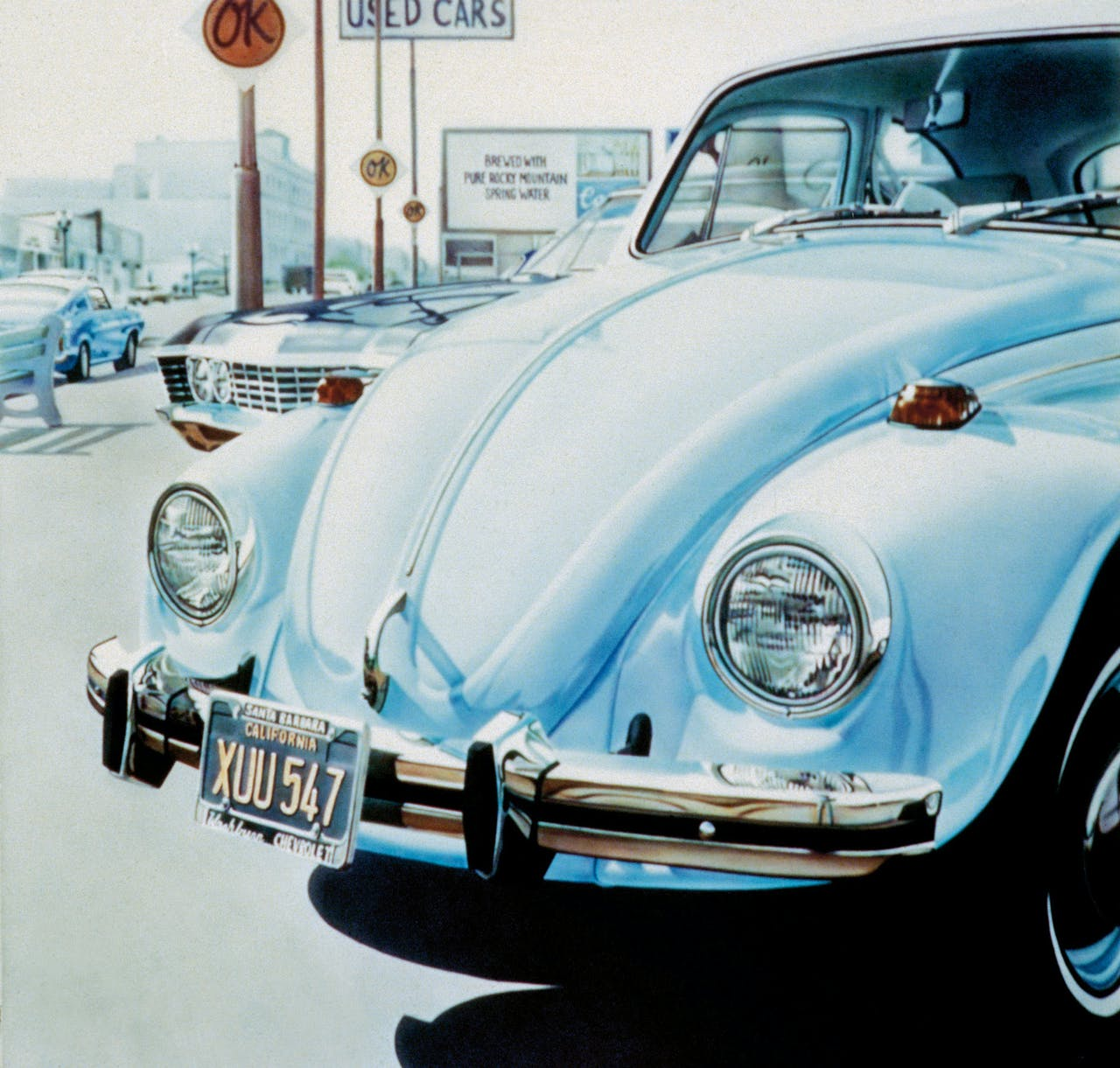 Don Eddy: 'Volkswagen and OK used cars', 1971. Werk van Eddy is volgende maand te zien in de Kunsthal.
