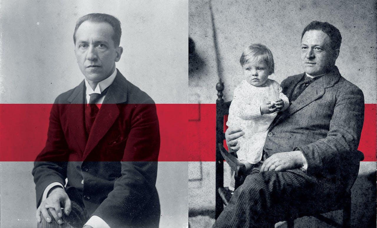 Piet Mondriaan in 1917; rechts: Bart van der Leck in 1915, met een van zijn drie dochters op schoot.