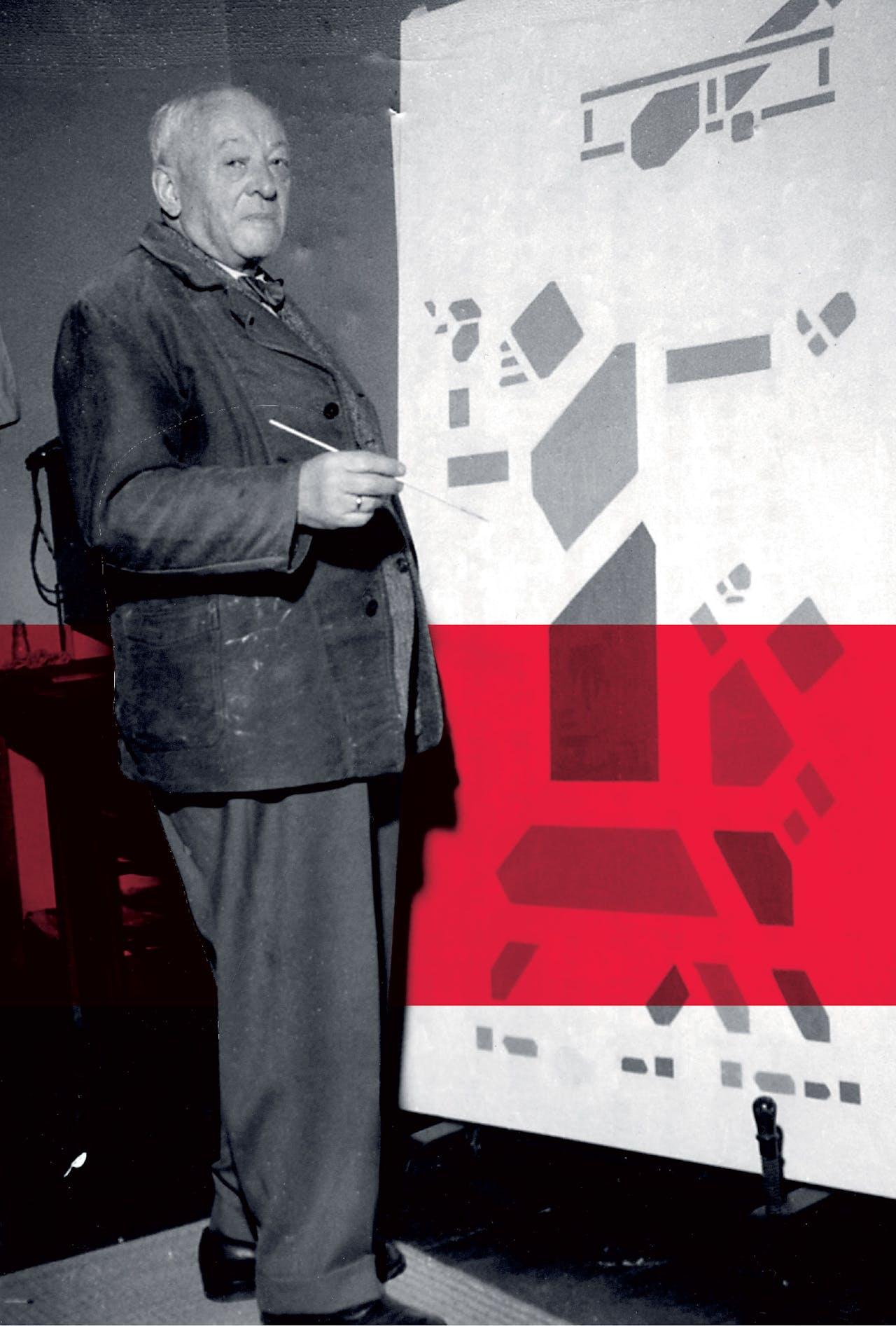 Bart van der Leck in zijn atelier, 1956. Vanaf 1920 tot aan zijn dood bleef hij in dezelfde stijl werken.