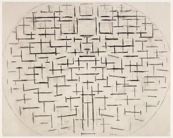 Mondriaans 'Pier en oceaan 4', uit 1914, gemaakt in Domburg, laat duidelijk zien hoe hij op weg is naar abstractie.