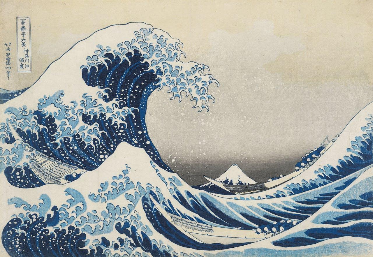 Waarschijnlijk de beroemdste prent van Japan: 'De grote golf bij Kanagawa', Katsushika Hokusai, 1829-1833.