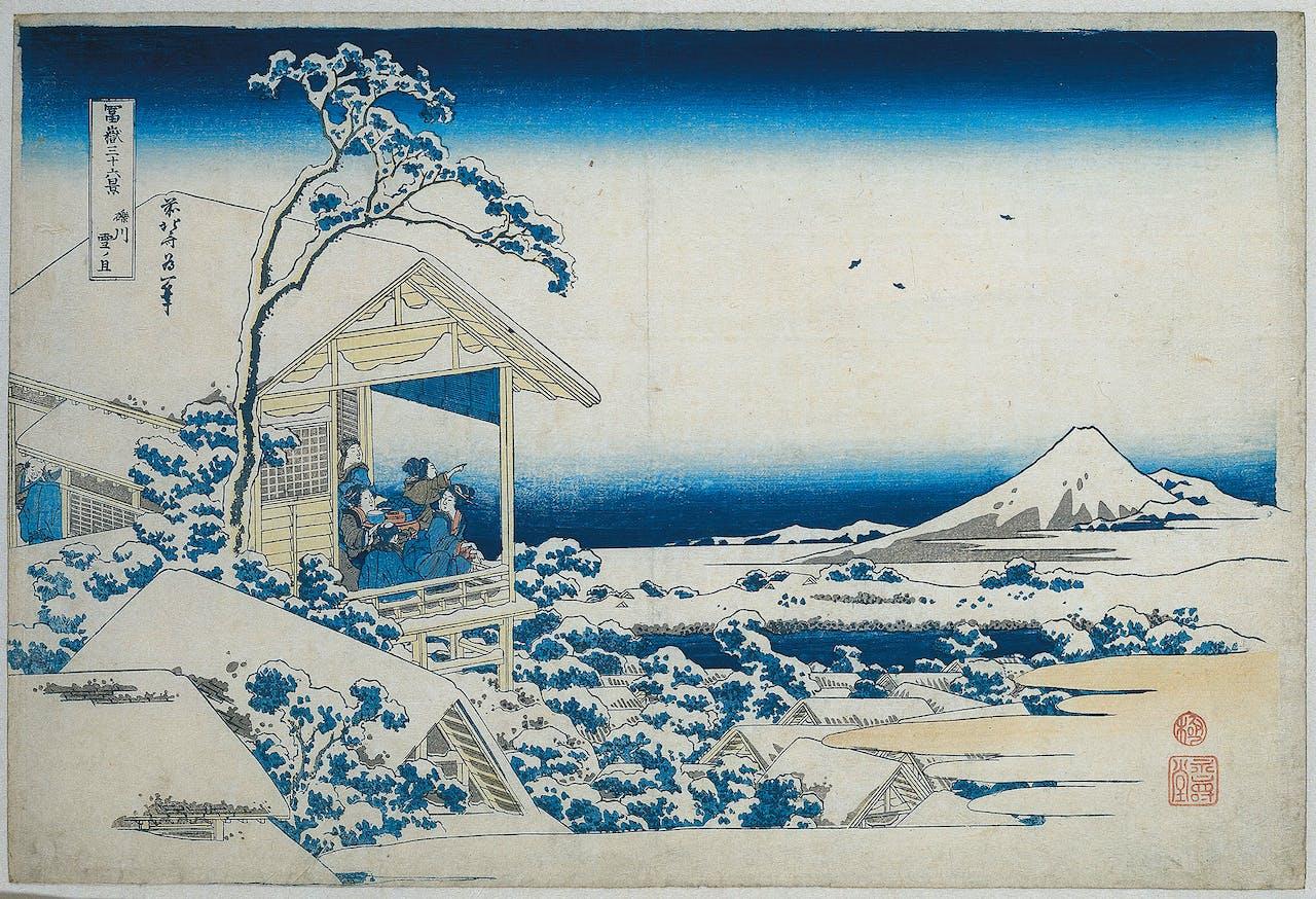 'Besneeuwde ochtend in Koishikawa', Katsushika Hokusai, uit: 'Zesendertig gezichten op de berg Fuji', 1830-1835.